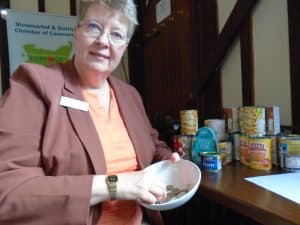 Kate Kelly with donations in August 2017 to the Stowmarket Foodbank
